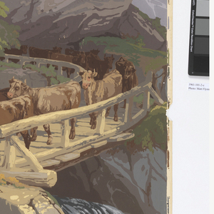 """Temperate Zone: Alpine scene, in sequence left to right. a) Nine cows before two huts. Large waterfall; b) Five cows, one mostly white, before stone-based hut; c) Ten cows crossing bridge over waterfall, large single rock above cows; d) River landscape with distant valley. Six spruce trees in foreground, with berries and blossoms in immediate foreground; e) Clearing with single tree. Two goats, one in profile; f) Rocky landscape with cap-like peak on horizon. Single thin tree in upper third of panel; g) Desert: Large blue magvey cactus with yellow flower stalk. Printed on bottom of panels: """"Les Zones par J. Zuber & Cie Rixheim, Alsace 1797-1909. No. 14 in rectangle""""."""