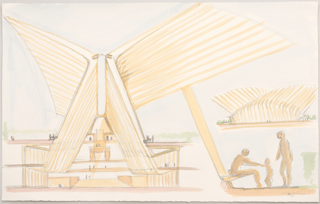 Cross-section and side view of structure, with detail view of human figures on lower right. Signed, in pencil: Calatrava / NY