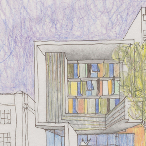 Sketch of a front elevation showing varied-colored rectangles across the upper floors. Inscribed in pencil, lower right: Step Up On Fifth Santa Monica, CA