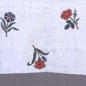 "small piee of cream white cotton, block-printed in small detached flowers, about 1-2"" long, carntaons, rose, etc., some reversed, some sideways. Colors red, blue, yellow, green and brown for outlines. Right selvage present."