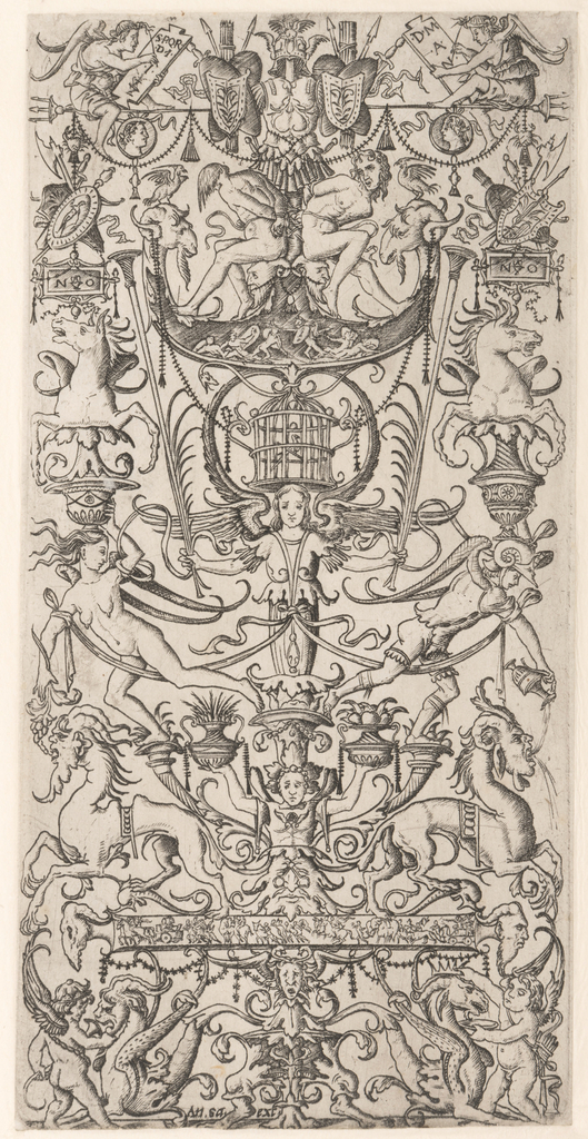 A vertical ornamental motif, bilaterally divided, shows a winged figure, holding trumpets and palm leaves, and supporting a bird cage. Upper level, two seated figures write on tablets that read S.P.Q.R. (The Roman Senate and People) and D.M.A.N.  Two bound captives sit beneath a military trophy. In the center of the panel, a winged figure supporting a birdcage holds trumpets and palm leaves, symbols of victory. At the top, two seated Roman senate and people. Two bound captives sit beneath a military trophy and above a small ornamental battle scene.