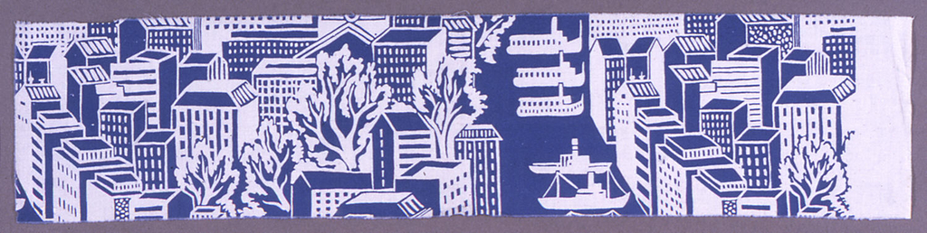 Stylized cityscape of buildings and trees flanking a river with boats, printed in blue on a white ground.