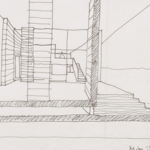 Sketch of multiple elevations, including a large rendering of back elevation. Five further smaller renderings surround the central sketch. Inscribed in black ink, lower right: Make It Right Duplex / 4 March 09 / Scarpa