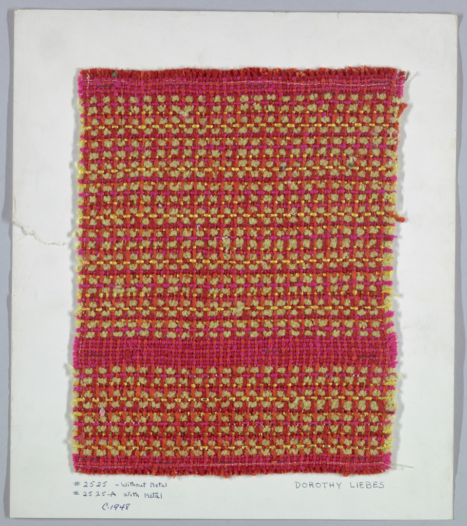 Two rows of single warps alternate with three rows of paired warps in bright colors. Lower sample is accented with metallic yarn. Warp is two-ply cotton in two shades of orange. Weft is yellow chenille, smooth yellow plied yarn and bright pink plied yarn. Lower section has flat and wrapped metal yarns paired with plied yarns.