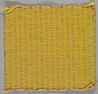 Sample of hand-woven cotton in which the warps are much thinner and more tightly twisted than the loosely-twisted, irregularly spun wefts, which vary in thickness across their length. Ochre and hot pink warps; ochre wefts.