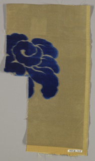 Staggered horizontal repeat of large scale stylized roses. Blue rose is on a metallic ground.