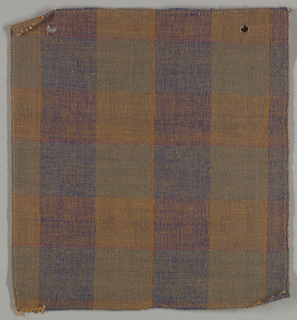 Sample of a hand woven cotton plaid with a slightly slubbed texture. Warp has wide bands of royal blue and gray with narrow stripes of burnt orange; weft has wide bands of olive and burnt orange with narrow stripes of hot pink.