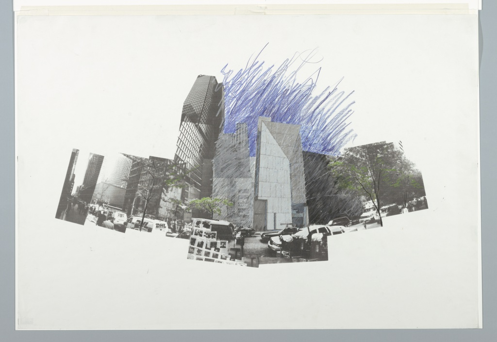 Image of the architects' design for the American Folk Art Museum, Manhattan, New York amidst different collaged views of 53rd Street traffic.