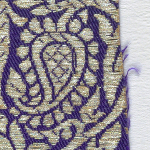 Medium-scale continuous parallel design of twisting flowering sprays in gold, tightly arranged, on a bright purple ground