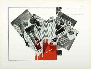 Print, Collage of Axonometric View and Construction Photographs, Bridgeport Cener, Bridgeport, Connecticut, 1989