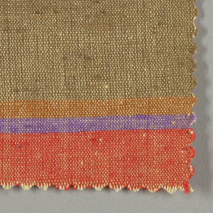 Sample of woven fabric with wide and narrow horizontal stripes. Yellow warp; orange, ochre, bright pink, purple and olive wefts.