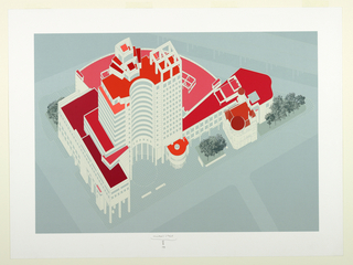 Print, Axonometric View, Bridgeport Center,  Bridgeport, Connecticut, 1989