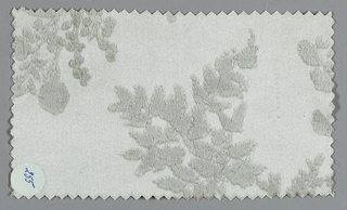 Light gray ground has an allover pattern of flowers, leaves, sprigs, and sprays in a slightly darker gray tone.