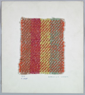 Woven sample mounted to a cardboard card with notations by the designer. Twill with vertical stripes of brown, pink, yellow and green; all colors are mottled. Warp has stripes of brown, pink, yellow and green synthetic yarns. Weft is bands of plain orange chenille and orange chenille alternating with paired flat and wrapped gold metallic yarn.