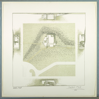 Building plan on its site, at center, with suggestions of sky, grass, shadows and landscape, printed in grays and beiges; elevations of north, east, south, and west facades are at top, right, bottom and left respectively.