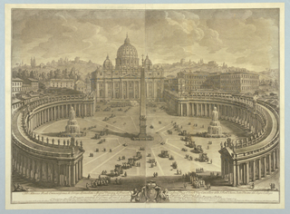 Print, View of St. Peter's Piazza, Rome, 1710-1782
