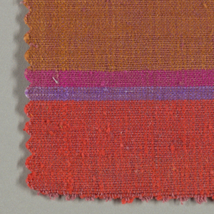 Sample of woven fabric with wide and narrow horizontal stripes. Soft red warp; purple, orange, bright pink, taupe and burnt orange wefts.