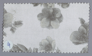 Off-white ground has an allover pattern of apple blossoms in shades of dark and light gray.