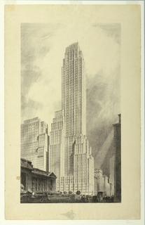 Depiction of a tall, rectangular skyscraper that appears to be an office building. The building is located at 500 Fifth Avenue at the corner of 5th Avenue and 42nd Street in Manhattan, and was designed by the architectural firm Shreve, Lamb & Harmon. The architecture is characterized by a setback or ziggurat style, becoming narrower as it reaches the sky. Other buildings appear to the left, in the background, and in the right foreground. The darkness of the foreground contrasts with the lighter space in the rest of the picture. The New York Public Library, identified by the two lion sculptures out front and its classical architecture, is shown in the left foreground facing 5th Avenue. Trees, small figures, cars, and a bus appear on the street level in front of the building.