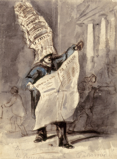 "Vertical rectangle. A man shown in 3/4 view, standing and holding in front of him an open newspaper marked ""La Presse."" He wears a blue coat or smock, black trousers, and on his head a hat formed of tiers of newspapers. Behind him, sketchy outlines of figures passing in either direction, and the exterior of a building with columns at right."