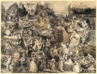 Montage scene that shows many people, predominately women and children, in various activities within a broad landscape that includes a Gothic ruin, the Rhine Valley and the Capitol at Washington.