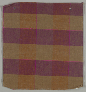Sample of a hand woven cotton plaid with a slightly slubbed texture. Warp has wide bands of burnt orange and taupe with narrow stripes of hot pink; weft has wide bands of violet and taupe with narrow stripes of hot pink.