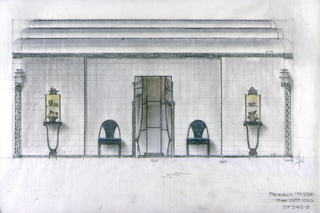 Two consoles, with cases above, and two chairs upholstered in blue, flank a draped window divided horizontally into three sections.  Triple-tiered ceiling cove above.