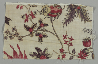 Pattern of large scale flowering branches printed in deep purple, red, green, blue and yellow on white ground. Flowers are oriental in inspiration.