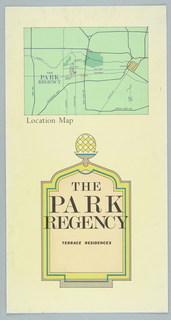 Design for Park Regency Terrace Residences Location Map for the Park Regency Condominium, Houston, Texas, USA. Presentation drawing for sales.