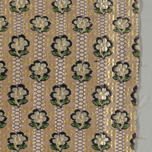 Two fragments of woven fabric showing offset rows of small flowers (alternate rows counterfaced) on top of violet stripes on a yellow background patterned with tiny yellow flowers.