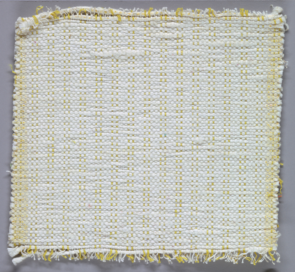 Sample of hand-woven cotton in which the warps are much thinner and more tightly twisted than the loosely-twisted, irregularly spun wefts, which vary in thickness across their length. Ivory and ochre warps; ivory wefts.