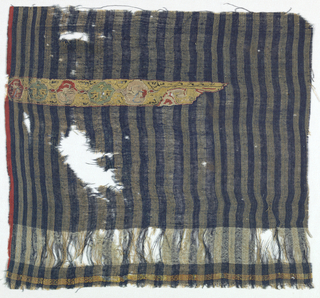 Warps consist of alternating stripes of dark blue and tan. The weft has blue threads except at the bottom which has a wide stripe made from white weft threads. Just below is a narrow stripe of alternating red and yellow silk wefts. The tapestry insert consists of connected cartouches with a design of crudely rendered animals in red, white, yellow, green, and black silk. Tapestry insert is predominantly yellow.