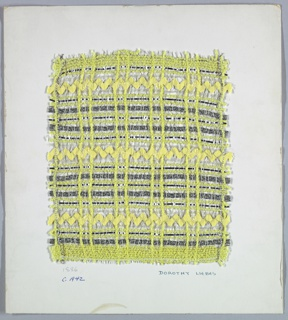 Woven sample mounted to a cardboard card with notations by the designer. Very open plaid in yellow and silver. Warp is a repeating sequence of metallic silver wrapped yarns, yellow bouclé, and braided clear plastic strips. Weft has bands of yellow rickrack trim, braided clear plastic strip, yellow bouclé, braided flat silver foil, and silver metallic wrapped yarns.