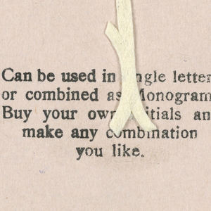 """Alphabet embroidery form, partial alphabet, """"Stick"""" letters. The letter Y mounted on paper."""