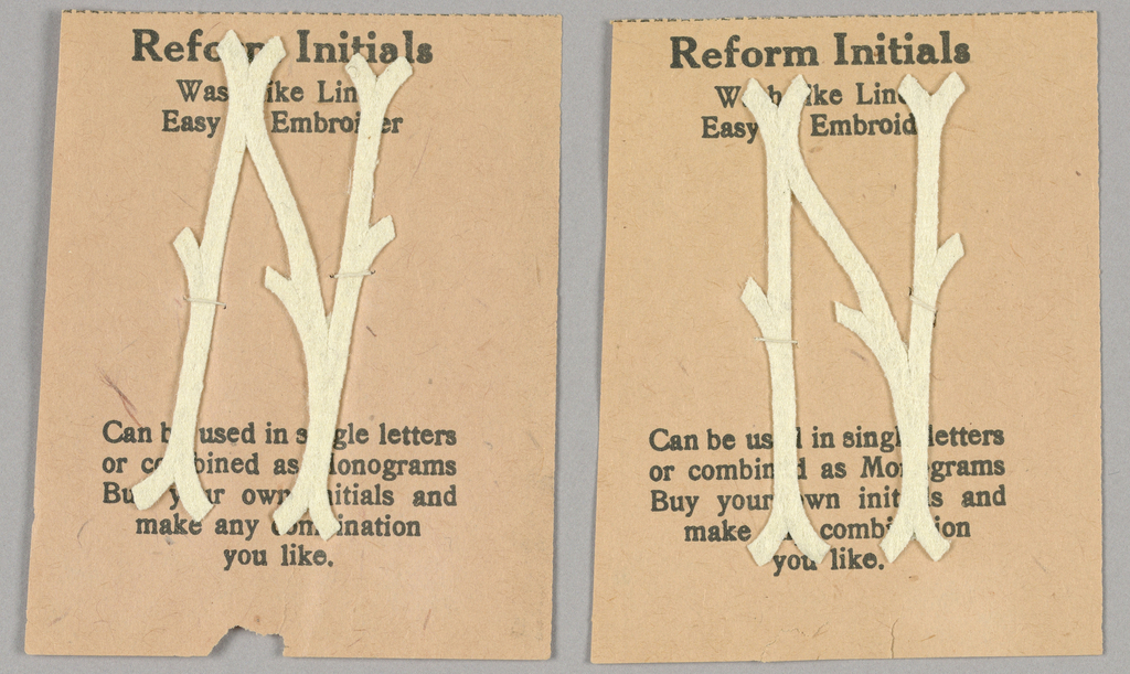 """Alphabet embroidery form, partial alphabet, """"Stick"""" letters. The letter N mounted on paper."""