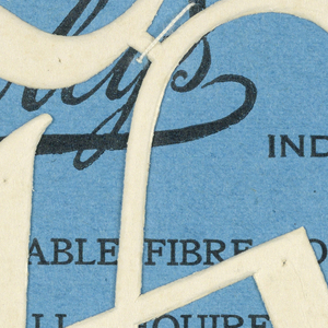 """Alphabet embroidery form: No. 206, """"Old English"""" Letters. The letter K mounted on paper."""