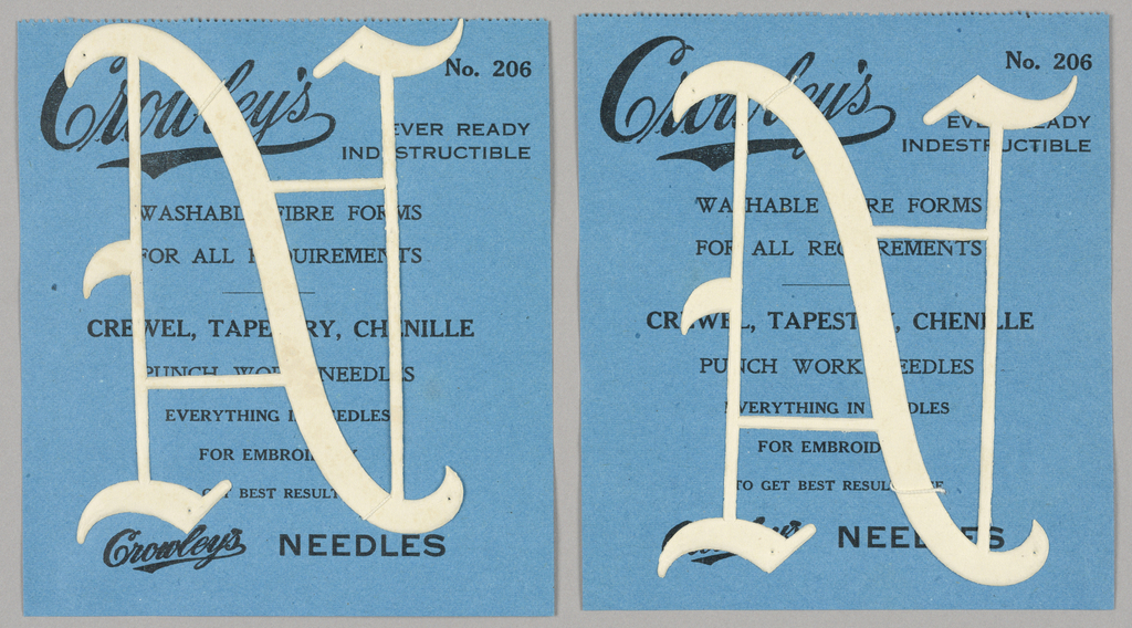 """Alphabet embroidery form: No. 206, """"Old English"""" Letters. The letter N mounted on paper."""