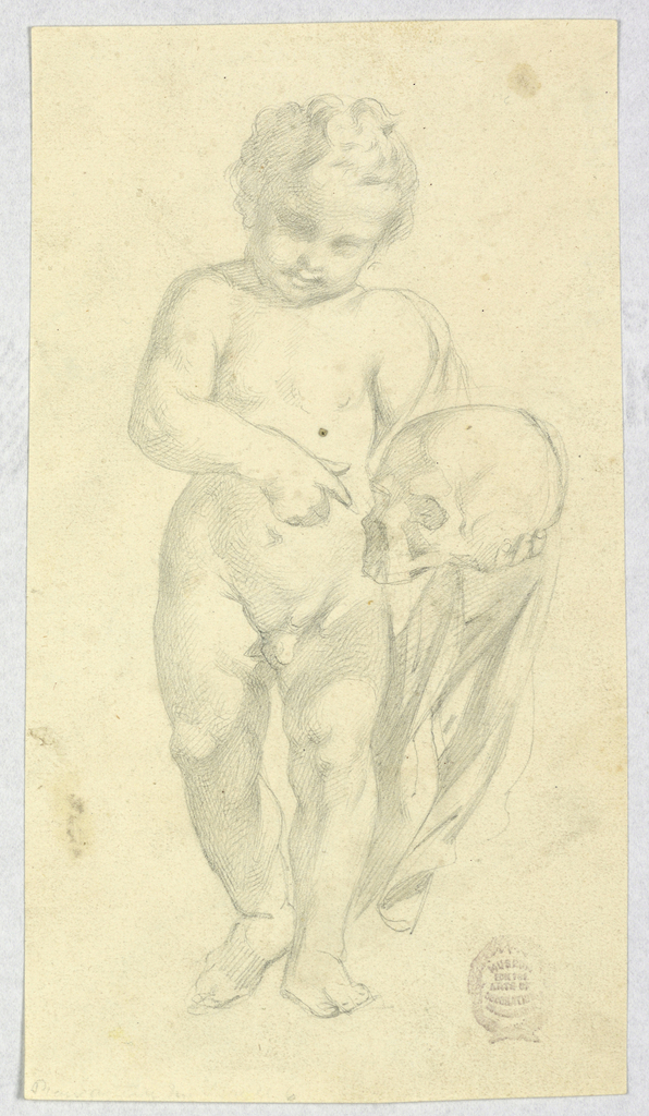The child carries a skull in his left hand and points at the skull with his right. Hanging from his arm is a cloth. The child's head is tilted towards the bottom left.