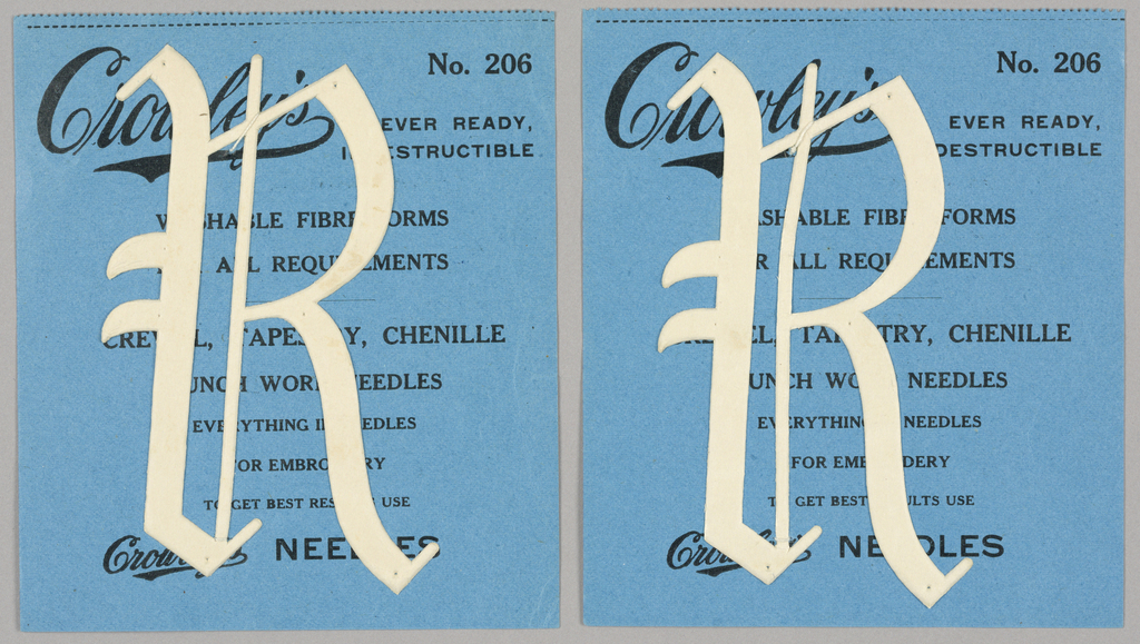 """Alphabet embroidery form: No. 206, """"Old English"""" Letters. The letter R mounted on paper."""