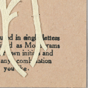 """Alphabet embroidery form, partial alphabet, """"Stick"""" letters. The letter A mounted on paper."""