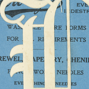 """Alphabet embroidery form: No. 206, """"Old English"""" Letters. The letter V mounted on paper."""