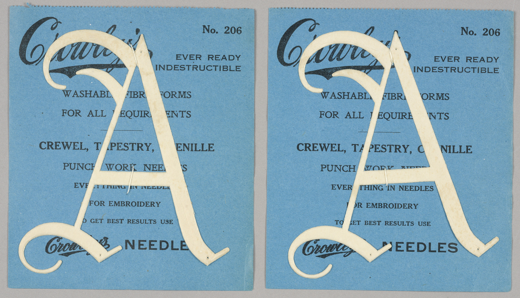 """Alphabet embroidery form: No. 206, """"Old English"""" Letters. The letter A mounted on paper."""
