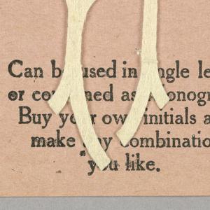 """Alphabet embroidery form, partial alphabet, """"Stick"""" letters."""