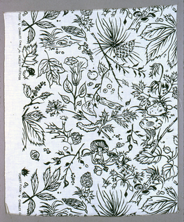 Bold black line drawing of closely scattered leaves, pine twigs, mushrooms, acorns and berries on undyed beige ground. Narrow cloth selvage with double warps of white cotton.