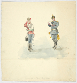 Drawing, Costumes of a German Red Hussar and an Officer of German Infantry