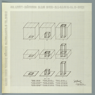 Art exhibition poster with large grid showing nine geometric drawings in three rows of three.  The nine drawings are 3-D variations of a cube, rectangular shape, and a plane, with an expanding void space.  Text below with 9 sets of measurements for interior area and exterior dimension of each shape.  Drawing 1 is square plane with a square hole cut out of its center; Drawing 9 is transparent cube with columnar square void connecting its top plane with its bottom one.