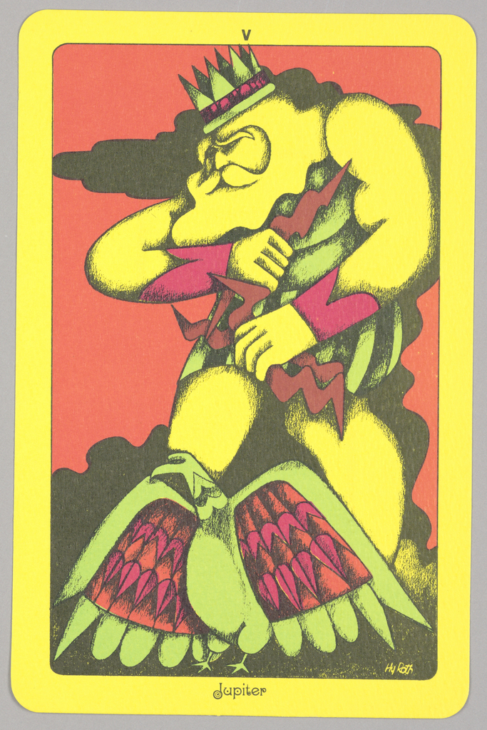 "Card, ""V, Jupiter"" from Linweave Tarot Deck, 1967"