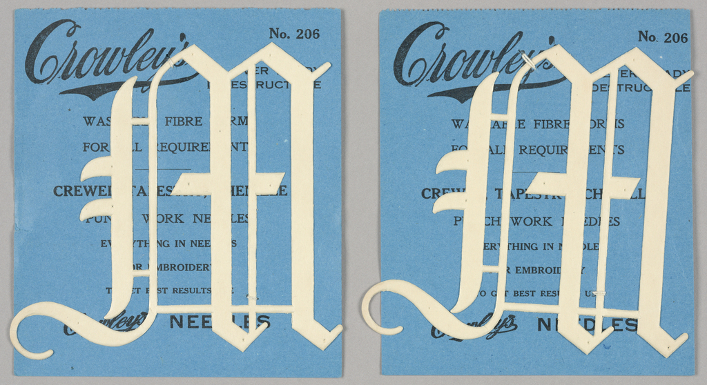 """Alphabet embroidery form: No. 206, """"Old English"""" Letters. The letter W mounted on paper."""