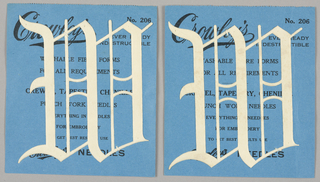 "Alphabet embroidery form: No. 206, ""Old English"" Letters. The letter W mounted on paper."