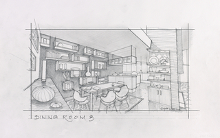 Concept Art, Parr Home Dining Room, The Incredibles, 2004